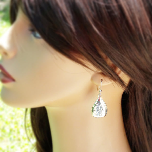 Hammered Silver Tear Drop Earrings - Hypoallergenic