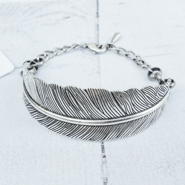 Feather Bracelet - Silver Feather