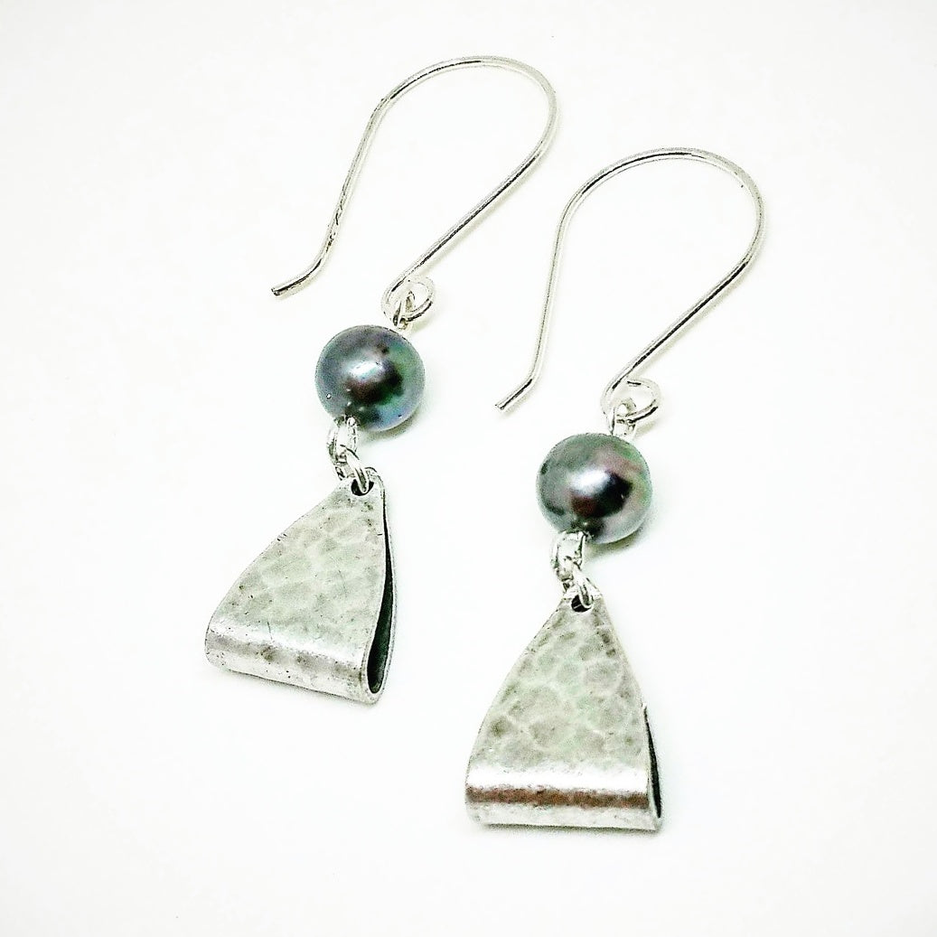 "Black Pearl Sterling Silver Earrings - Hammered Triangles - Genuine Freshwater Pearls - As Seen On TV ""The Fosters"""