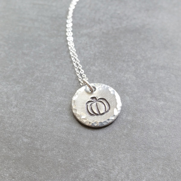 Silver Pumpkin Necklace on Sterling Silver Chain