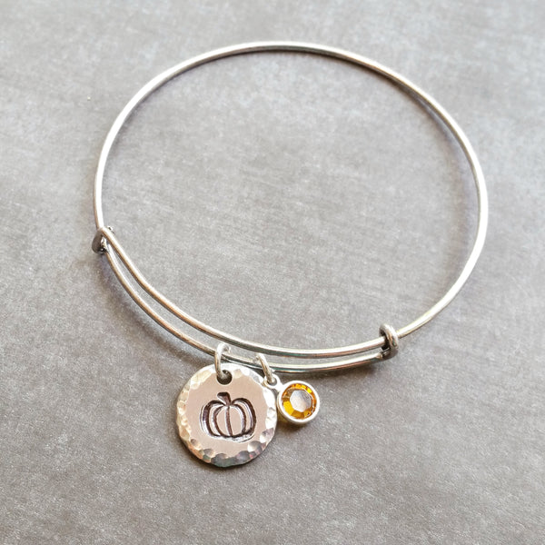 Pumpkin Bangle Bracelet with Swarovski Crystal on Stainless Steel