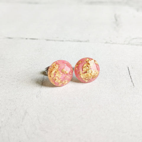 Pink with Gold Flake Stud Earrings - Hypoallergenic Posts