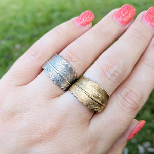 Feather Wrap Around Ring - Choose Silver or Gold