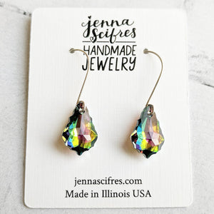 Dark Rainbow Swarovski Crystal and Solid Sterling Silver Earrings