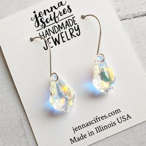 Light Rainbow Swarovski Crystal and Solid Sterling Silver Earrings