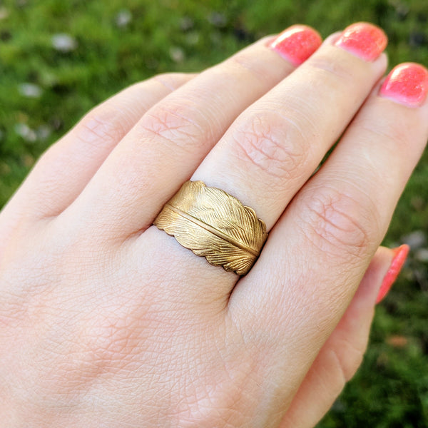 Gold Feather Wrap Around Ring