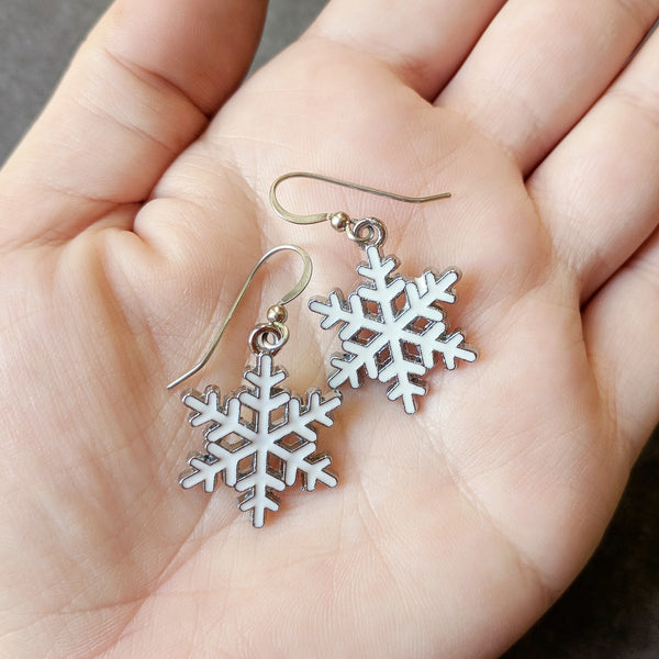 White Enamel Snowflake Dangle Earrings - Surgical Steel Hypoallergenic