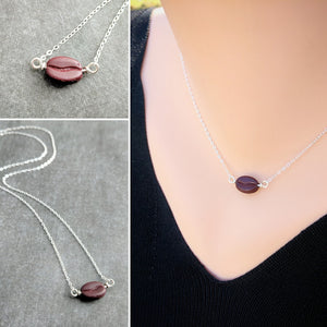 Coffee Bean Necklace - Sterling Silver Chain