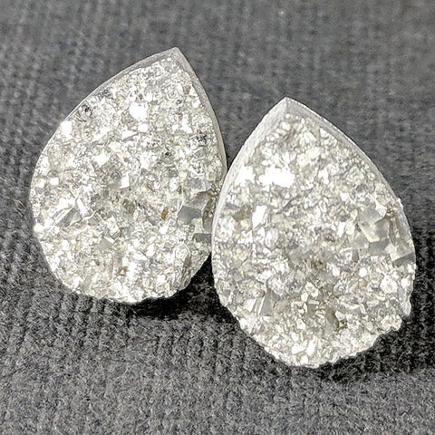 Silver Druzy Teardrop Stud Earrings - Hypoallergenic Titanium Posts