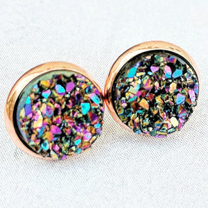 Peacock on Rose Gold - Druzy Stud Earrings - Hypoallergenic Posts