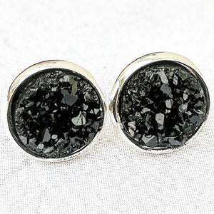 Black on Silver - Druzy Stud Earrings - Hypoallergenic Posts