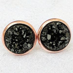 Black on Rose Gold - Druzy Stud Earrings - Hypoallergenic Posts