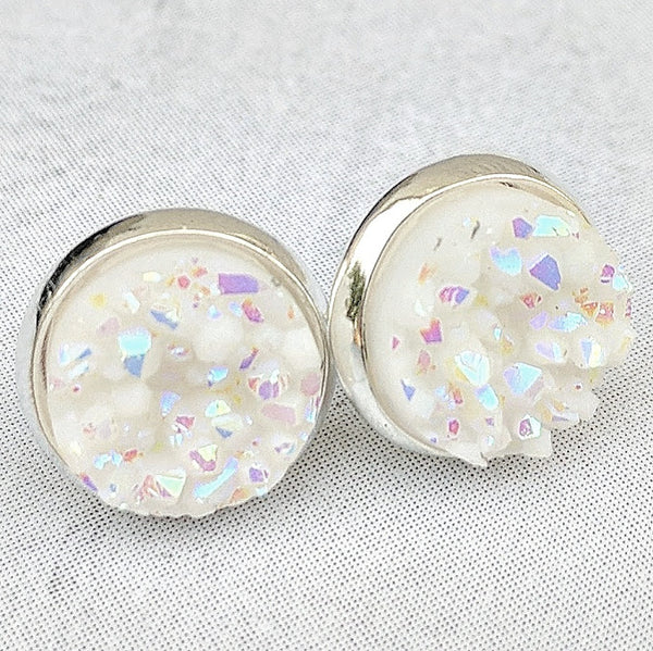 White on Silver - Druzy Stud Earrings - Hypoallergenic Posts
