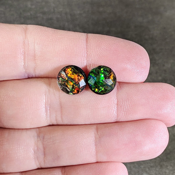 Dark Fire Opal Resin Stud Earrings - 10mm - Hypoallergenic Titanium Posts
