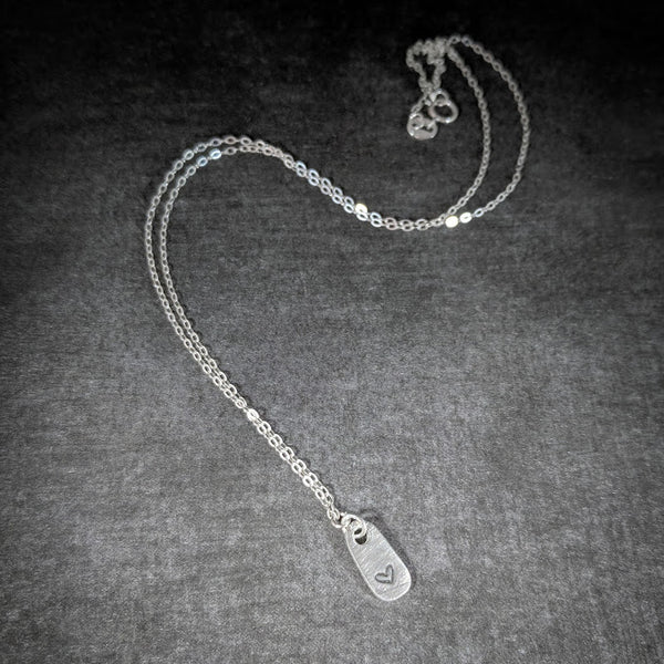 Tiny Pewter Heart Tag on Sterling Silver Necklace