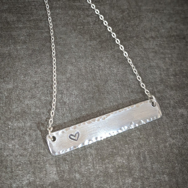 Horizontal Bar Necklace on Sterling Silver Chain