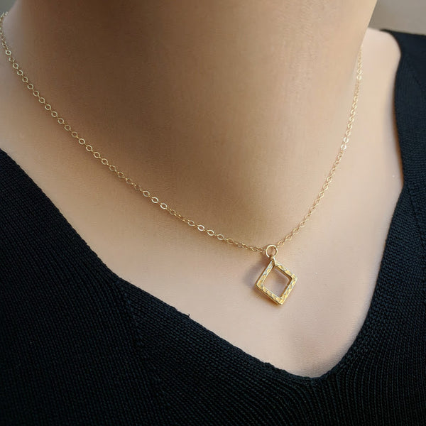 "14k Gold Filled Square Necklace - As Seen On TV's ""Arrow"" - Worn by Emily Richards as Felicity Ep. 613"