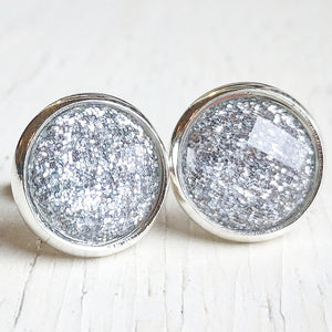 Silver Glitter Stud Earrings - Hypoallergenic Posts