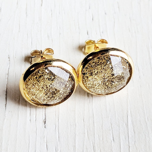 Gold Glitter Stud Earrings - Hypoallergenic Posts