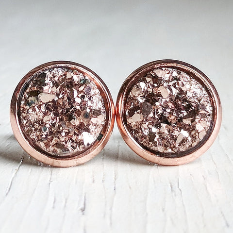 Rose Gold on Rose Gold - Druzy Stud Earrings - Hypoallergenic Posts