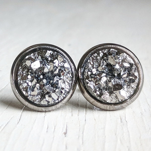 Gunmetal on Gunmetal - Druzy Stud Earrings - Hypoallergenic Posts