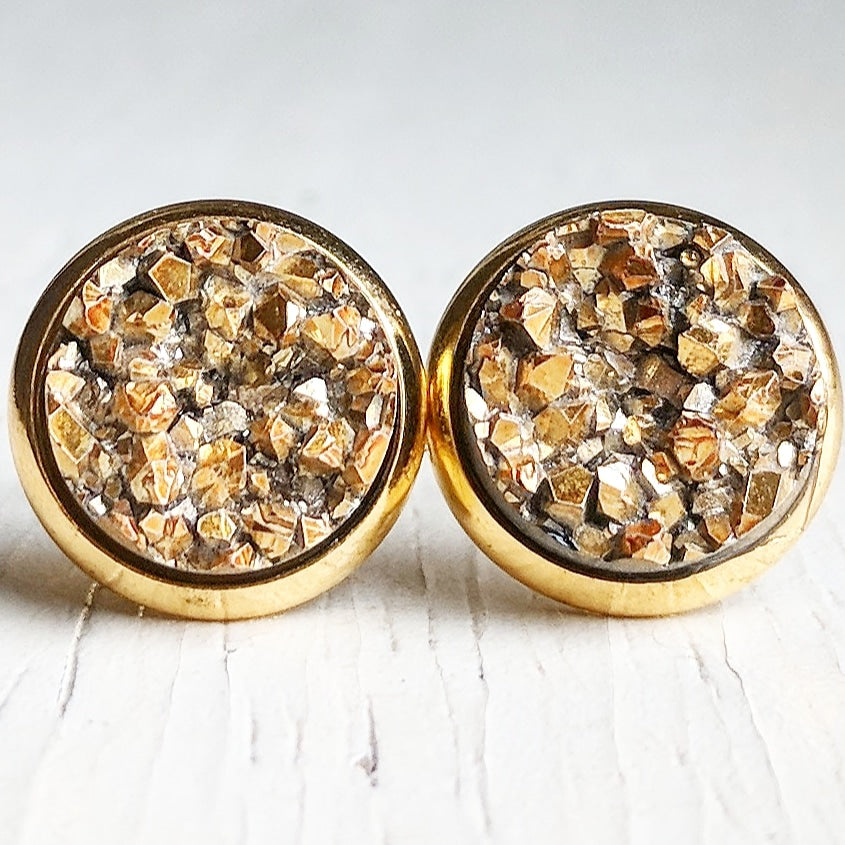 Gold on Gold - Druzy Stud Earrings - Hypoallergenic Posts