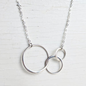 Three Links Sterling Silver Necklace