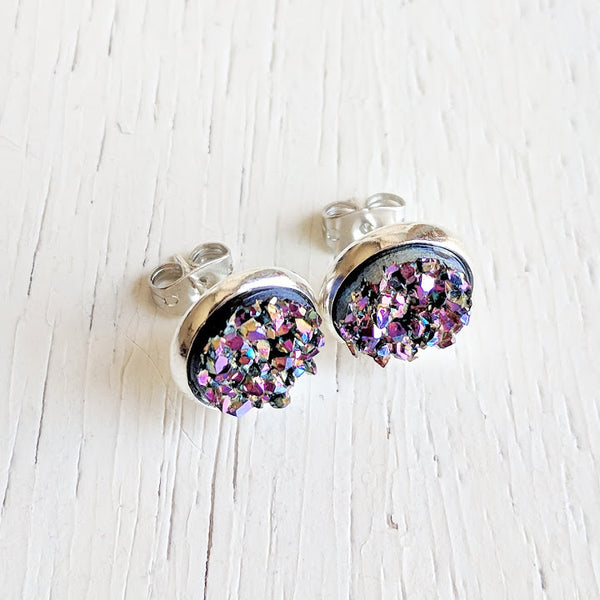 Ultra Violet on Silver - Druzy Stud Earrings - Hypoallergenic Posts