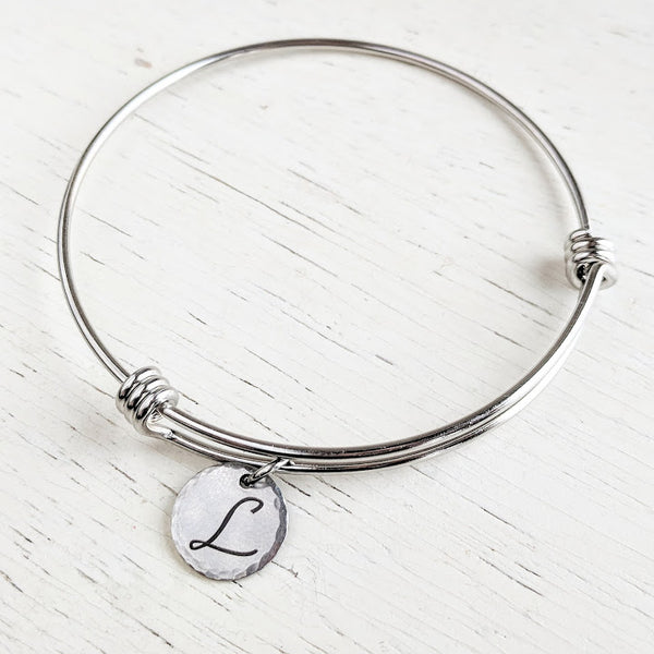 Initial Bangle Bracelet - Stainless Steel - Adjustable