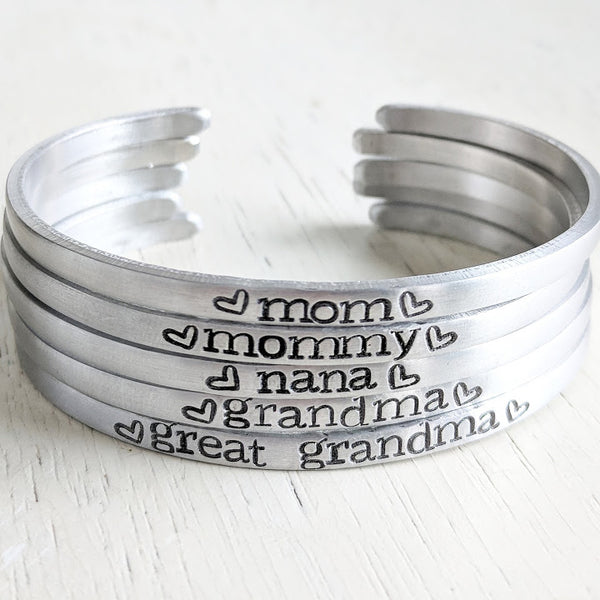 Mother's Day Cuff Bracelet, Personalized Silver Aluminum Cuff