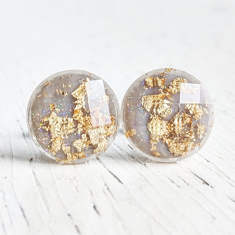 Grey with Gold Flakes Stud Earrings - Hypoallergenic Posts
