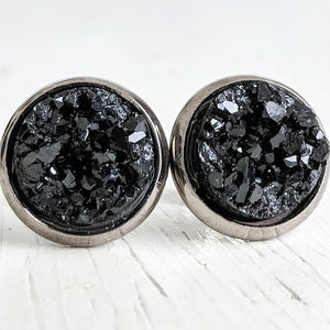 Black on Gunmetal - Druzy Stud Earrings - Hypoallergenic Posts