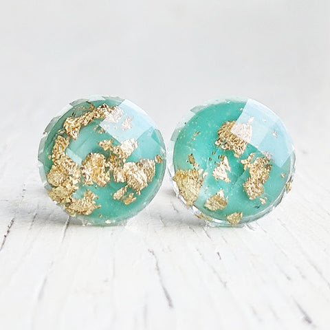 Mint with Gold Flakes Stud Earrings - Hypoallergenic Posts