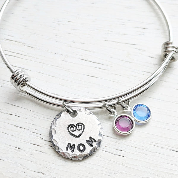 Custom Grandma Bracelet - Adjustable Bangle - Stainless Steel and Swarovski Crystals