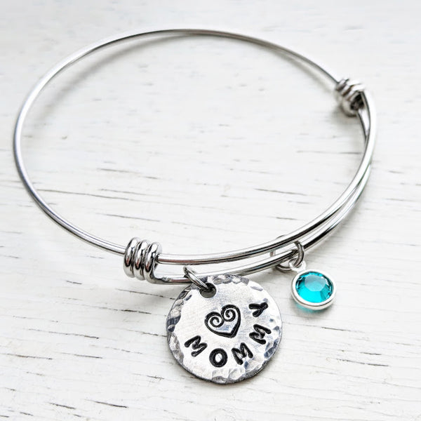 Custom Mom Bracelet - Adjustable Bangle - Stainless Steel and Swarovski Crystals
