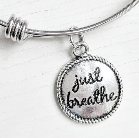 Just Breathe Bangle Bracelet - Stainless Steel
