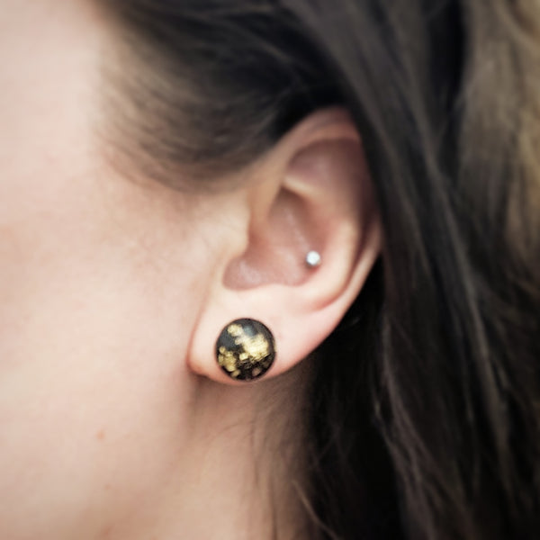 XL 12mm Black Gold Flake Stud Earrings - Hypoallergenic Posts