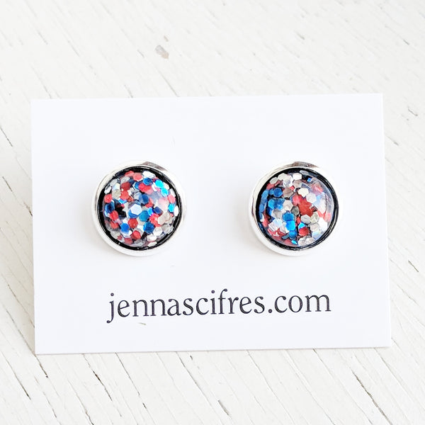 Patriotic Red White Blue Stud Earrings - Hypoallergenic Posts