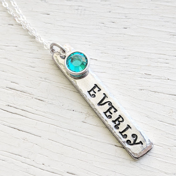 Mothers Tag Necklace - Sterling Silver Chain