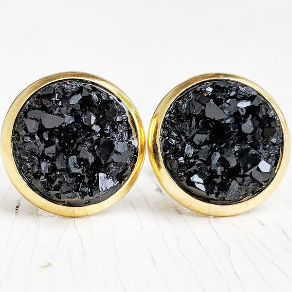 Black on Gold - Druzy Stud Earrings - Hypoallergenic Posts
