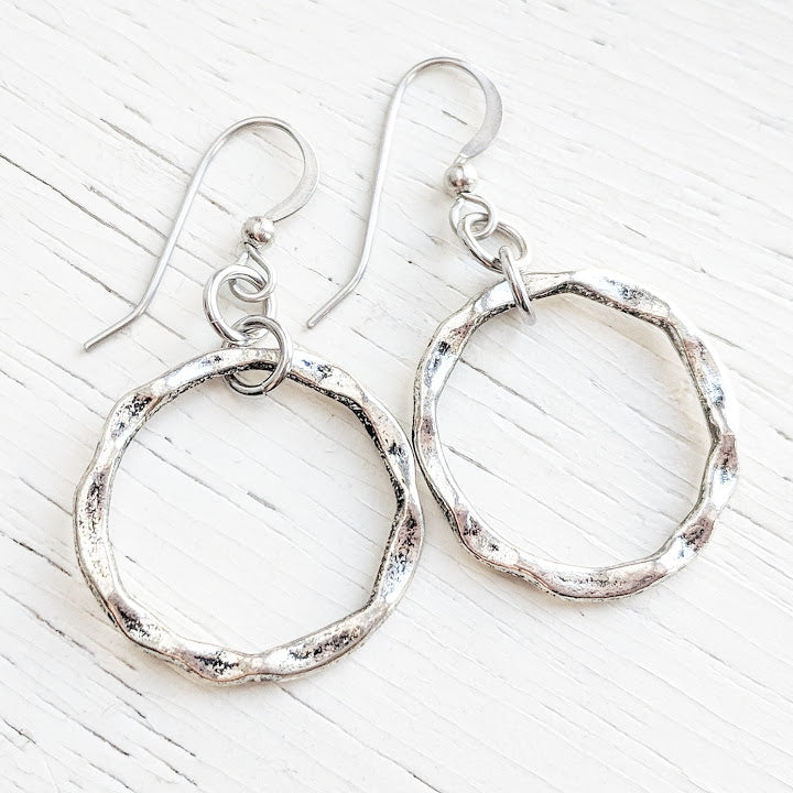 Hammered Circle Dangle Earrings - Hypoallergenic Surgical Steel