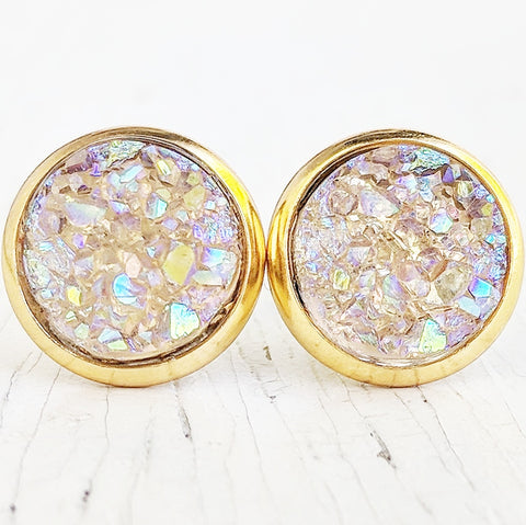 Opal on Gold - Druzy Stud Earrings - Hypoallergenic Posts