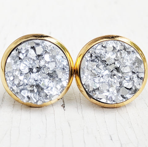 Silver on Gold - Druzy Stud Earrings - Hypoallergenic Posts