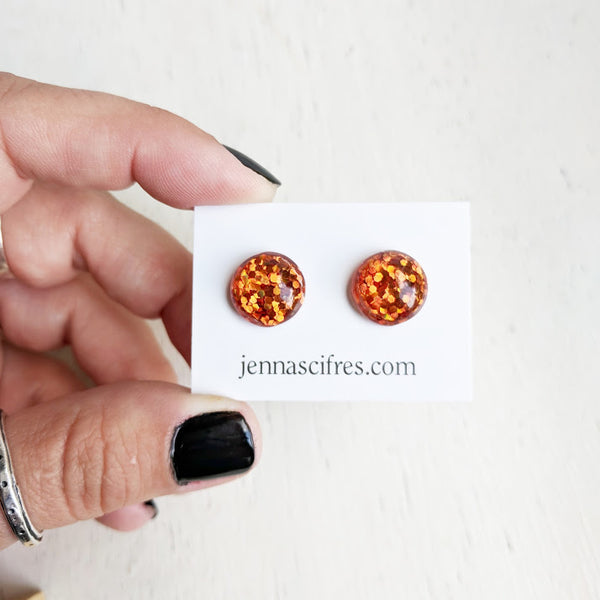 Pumpkin Orange Glitter Bubble Stud Earrings - Hypoallergenic Silver Plated Posts