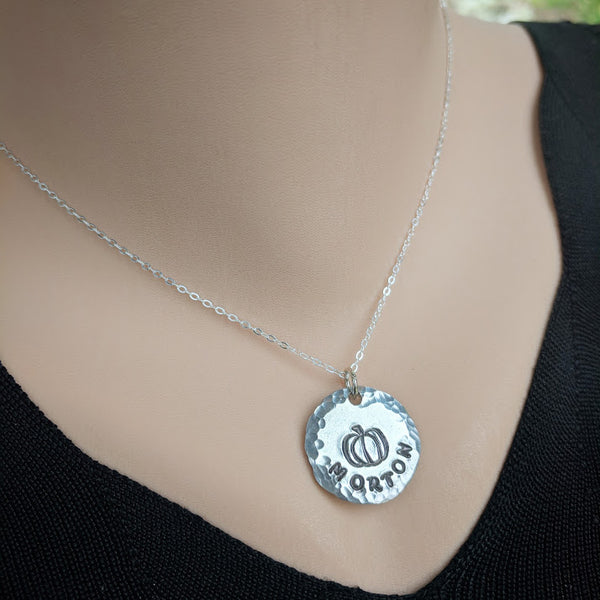 Morton Pumpkin Necklace on Sterling Silver Chain