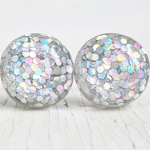 Silver Holographic Glitter Bubble Stud Earrings - Hypoallergenic Silver Plated Posts