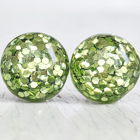 Green Glitter Bubble Stud Earrings - Hypoallergenic Silver Plated Posts