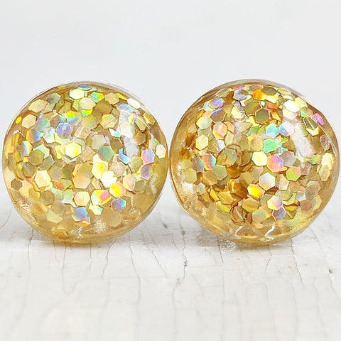 Gold Glitter Bubble Stud Earrings - Hypoallergenic Silver Plated Posts