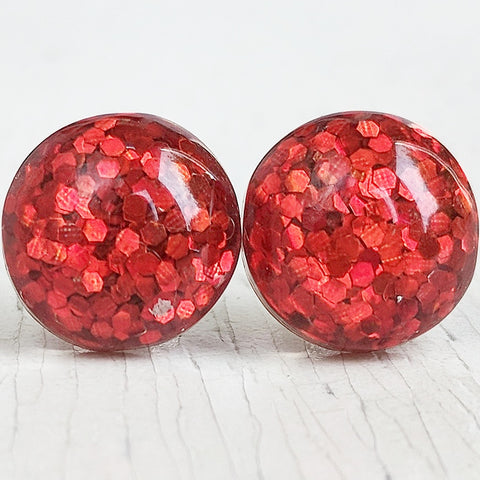 Red Glitter Bubble Stud Earrings - Hypoallergenic Silver Plated Posts