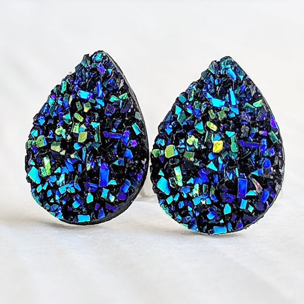 Deep Blue Druzy Teardrop Stud Earrings - Hypoallergenic Titanium Posts